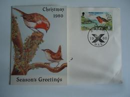 ISLE   OF MAN  POSTCARDS  BIRD BIRDS   CHRISTMAS 1980 - Isle Of Man