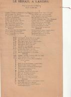 (MARS )LE SERRAIL A LANDRU    ( Page Unique ) - Partitions Musicales Anciennes