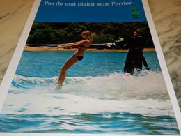 ANCIENNE PUBLICITE  PAS DE VRAI PLAISIR SANS  PERRIER   1970 - Perrier