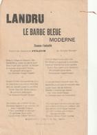 (MARS ) LANDRU , Le Barbe Bleu Moderne ,  Paroles Du Chansonnier JULIUS , Air De CADET ROUSSELLE - Partitions Musicales Anciennes