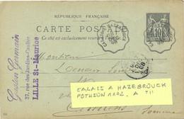 CONVOYEUR CALAIS A HAZEBROUCK POTHION 1172 TII ALLER TàD 17 DEC 98 Sur ENTIER CP SAGE 10 C. /832 - Correo Ferroviario