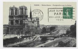 FRANCE N° 159 AU RECTO CARTE DE PARIS NOTRE DAME MECANIQUE JEUX OLYMPIQUES PARIS GARE ST LAZARE 19.III.1924 - Summer 1924: Paris