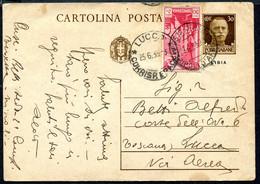 Z2707 ITALIA COLONIE LIBIA 1935 Cartolina Postale 30 C., Fil. C20, Viaggiata Per Posta Aerea Da Tripoli Per Lucca, Buone - Libya