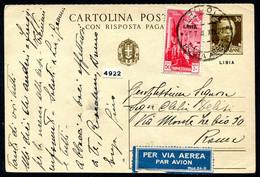 Z2706 ITALIA COLONIE LIBIA 1940 Cartolina Postale Con Risposta Pagata 30 C., Fil. C21, Viaggiata Per Posta Aerea Da Trip - Libya
