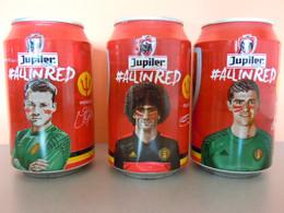 België Belgique Jupiler Bier Bière Voetbal Foot EK 2016 3 Blikjes Leeg Cannettes Vides Spelers Joueurs All In Red - Cans