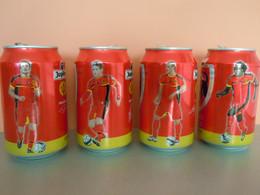 België Belgique Jupiler Bier Bière Voetbal Foot  4 Blikjes Leeg Cannettes Vides Spelers Joueurs Red Devels - Cans