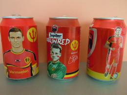België Belgique Jupiler Bier Bière Voetbal Foot 3 Blikjes Leeg Gemengde Reeks Cannettes Vides Spelers Joueurs Red Devels - Cans