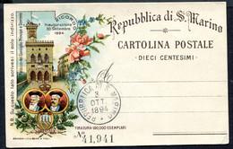 Z2697 SAN MARINO 1894 Cartolina Postale Palazzo Del Consiglio, NUOVA Con Annullo, Fil. C6, Ottime Condizioni - Entiers Postaux