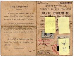 Carte D'identité SNCF Permettant D'obtenir Des Billets Demi-tarif, Voyage Aller-retour, 1939/1947 - Other