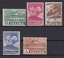 IS048 – ISLANDE – ICELAND – 1948-54 – ERUPTION OF HEKLA VOLCANO – SG # 281/5 USED - Gebraucht