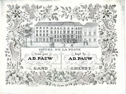 DE 611 - Carte Porcelaine D'Hotel De La Poste, Gand, Imp. T & D Hemelsoet - Sin Clasificación