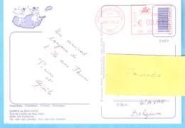 MONUMENTAL FUNCHAL-MADEIRA. EMA Portugal-circulated-->BELGIUM-2007-Postcard-Orquideas-Orchidées-Orchids-cachet Rouge - Affrancature Meccaniche Rosse (EMA)