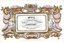 DE 612 - Carte Porcelaine Et Calendrier De L'Hotel De La Bourse D'Amsterdam, Bruxelles 1859 Imp. Carbotte. - Sin Clasificación