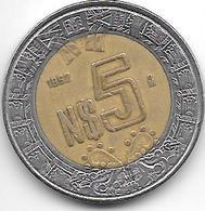 Mexico 5 Pesos 1992  Km 552  Vf - Mexico