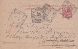 CARTOLINA POSTALE DA CENT. 10 LEONI DA COSTALPINO (SIENA) PER GIUNCARICO (GROSSETO) E BAGNI DI MONTECATINI (LUCCA) -1907 - Stamped Stationery