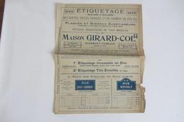 Dépliant Commercial , Tarifs Tôle émaillée Maison Girard Col Limoges Année 20 Panneaux De Rue Et De Route - Unclassified