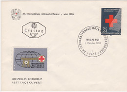 FDC Ö-1965 - Mi 1195 (2) , Internationale Rotkreuzkonferenz , SST Wien 101 - FDC