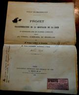 XIX è BRUXELLES PROJET TRANSFORMATION MONTAGNE DE LA COUR Présenté Au CONSEIL COMMUNAL  . 1875 .ARCHITECTES EPREUVE RARE - Historical Documents