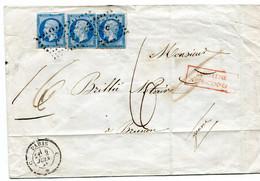 Enveloppe Paris Bureau C Pour Brienon 2 Juin 1856 Taxée Pour Insuffisance N° 14 X 3 TB - 1849-1876: Classic Period