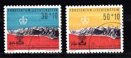 Liechtenstein 1960 Mi Nr 389 - 390, Wereldvluchtelingenjaar,. Met Opdruk - Gebraucht