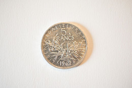 5 Francs Argent   1962 Semeuse - J. 5 Franchi