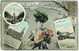 De Liège Je Vous Envoie Ces Fleurs Et Un Bon Souvenir. Femme Et Fleurs. Multivues. Art Nouveau. - Liege