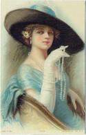 Illustrateur : DESCH Frank. Femme, Chapeau Et Collier De Perles. Olivia. - Otros Ilustradores