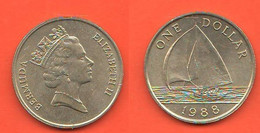 Bermuda 1 Dollaro $ Dollar 1988  Nickel Brass Coin Boath Ship - Bermuda