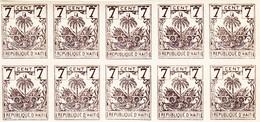 ARMOIRIES / NEUF ** / NON DENTELE / 7 C GRIS- BRUN / UN LOT DE 100TIMBRES  POUR GROSSISTE/ N° 37Y ET T / 1896 - Haiti