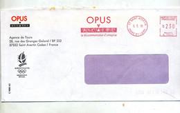 Lettre   Flamme Ema Saint Avertin Alcatel Opus Entête Fournisseur Jeu Olympique - EMA ( Maquina De Huellas A Franquear)