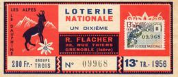 BILLET DE LOTERIE NATIONALE LES ALPES LE DAUPHINE OISEAU MARTIN PECHEUR SUPERBE - Billets De Loterie