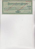 ASSEGNO :TRAVELLERS.    CHEQUE   20  DOLLARI :   DOMINION  EXPRESS  COMPANY .   PERFORATO - Cheques & Traveler's Cheques