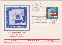 FDC Ö-1965 - Mi 1197 (48) , Österreich 10 Jahre Mitglied Der Vereinten Nationen , SST Wien 101 - FDC