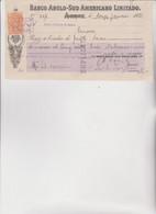 ASSEGNO   :  BANCO ANGLO-SUD AMERICANO LIMITADO .   IQUIQUE - CHILE  1921 - Cheques & Traveler's Cheques