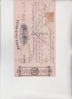 ASSEGNO   :  BANCA  ITALO - BELGA .  SANTOS - BRASILE.  1927 - Cheques & Traveler's Cheques
