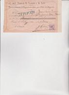 ASSEGNO- BUONO - RICEVUTA  :  BANCO  DI  SCONTO  E  DI  SETE.   DEPOSITO DI 2000 LIRE NEL 1883 A TORINO - Cheques & Traveler's Cheques