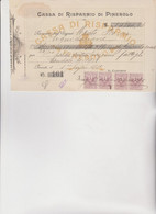 ASSEGNO- BUONO - RICEVUTA  :   CASSA DI  RISPARMIO  DI  PINEROLO .   1911 - Cheques & Traveler's Cheques