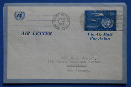 P4 ETATS UNIS NATIONS UNIES BELLE LETTRE AEROGRAMME 1952 NEW YORK POUR MONTCLAIR + AFFRANCH. PLAISANT - Covers & Documents