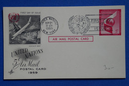 P4 ETATS UNIS NATIONS UNIES BELLE CARTE ASSEZ RARE 1959 NEW YORK PREMIER JOUR+ AFFRANCH. PLAISANT - Brieven En Documenten