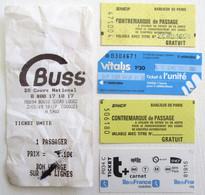 5 TICKETS DE TRANSPORT BUS CONTREMARQUE DE PASSAGE TRAINS SNCF PARIS - Other