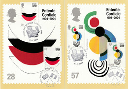France Royaume Uni GB 2004 Cartes Maximum Mixtes Emission Commune Entente Cordiale France UK Joint Issue Mixed Maxicards - Gemeinschaftsausgaben