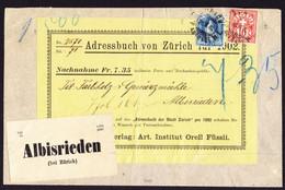 1902 Nachnahme Paketadress Teil. Nachnahme Aus Zürich Nach Albisrieden, Zürich. Knittrig Und Gefaltet. - Briefe U. Dokumente