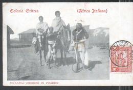 Erythree, Notabili Abissini In Viaggio, Obliteration Asmara, Cachet De Censure Militaire - Eritrea