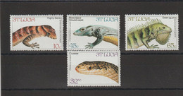 Sainte Lucie 1984 Reptiles 652-655 4 Val ** MNH - St.Lucia (1979-...)
