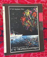Protège Livre A Bord Paquebot Cie Gle Transatlantique....Flammarion 54 La Canebière Marseille Protège-cahiers Illustré - Book Covers