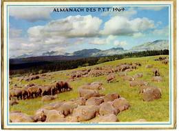 CALENDRIER GF 1969 - Le Paddock De Longchamp, Pâturage Moutons En Vercors, Imprimeur Oller (calendrier Double) - Big : 1961-70