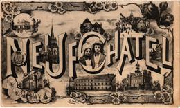 Neufchatel Vues Diverses  Très Belle Carte Très Bon état Postée Le 26/04/1906 Dessin De Talbot - Neufchâtel En Bray