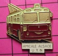 113a Pin's Pins / Beau Et Rare / THEME : TRANSPORTS / AUTOBUS  ELECTRIQUE AMICALE ALSACE U.T.N - Transport