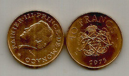 10 Francs Monaco Rainier III . 1975. - 1960-2001 New Francs