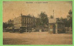 ANG321  CPA   TOULOUSE (Haute-Garonne) Le Square Lafayette  - Carte Toilée  +++++ - Toulouse